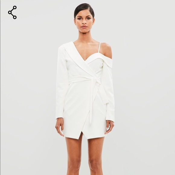 a8ae9510a1a Missguided Peace + Love White Tuxedo Blazer Dress